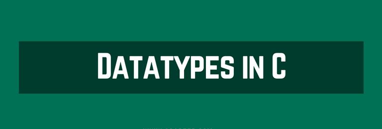 Datatypes in C